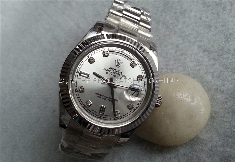 Replica Rolex Day-Date II Watches Swiss Automatic 218239-0006 Silver Dial 41mm (High End)