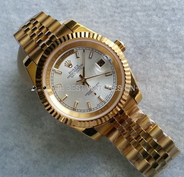 Replica Rolex Day-Date II Automatic Full Gold Watch Silver White Dial 41mm