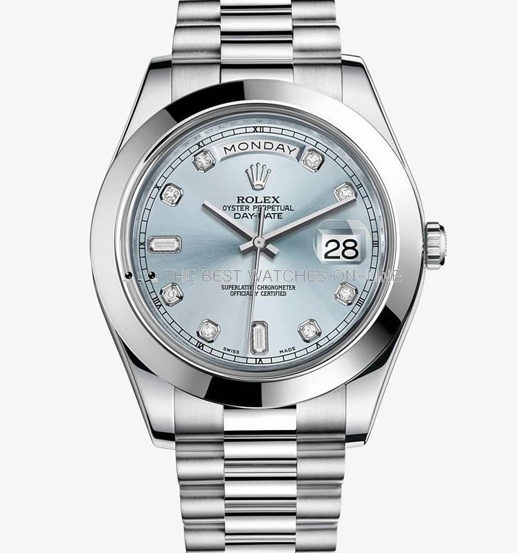 Rolex Day-Date II Swiss Automatic Watch Ice Blue Dial President Bracelet
