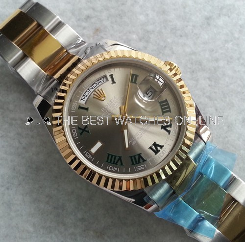 Replica Rolex Day-Date Automatic Two-Tone Watch Silver-Gray Dial 36mm