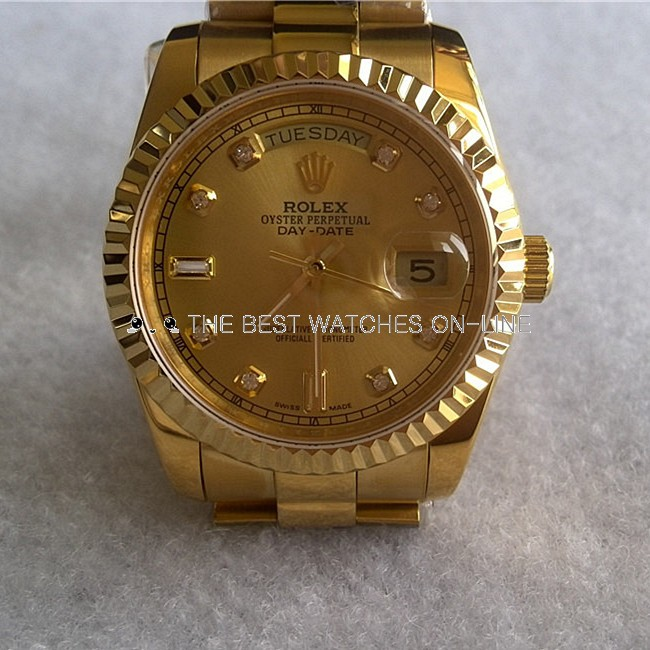 Rolex Day-Date Automatic Watch Yellow Gold Diamonds Hour Markers