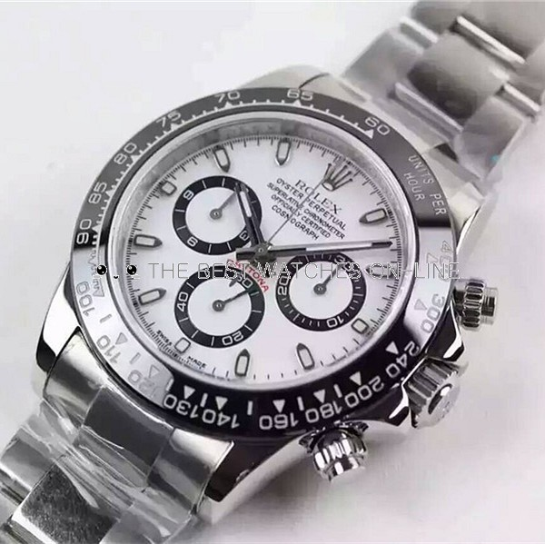 Rolex Daytona 2016 Basel Swiss Chronograph White Dial Black Ring (High End)