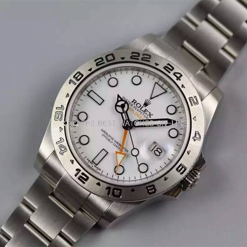 Swiss Replica Rolex Explorer II White Dial Orange GMT Hand (Super Model)