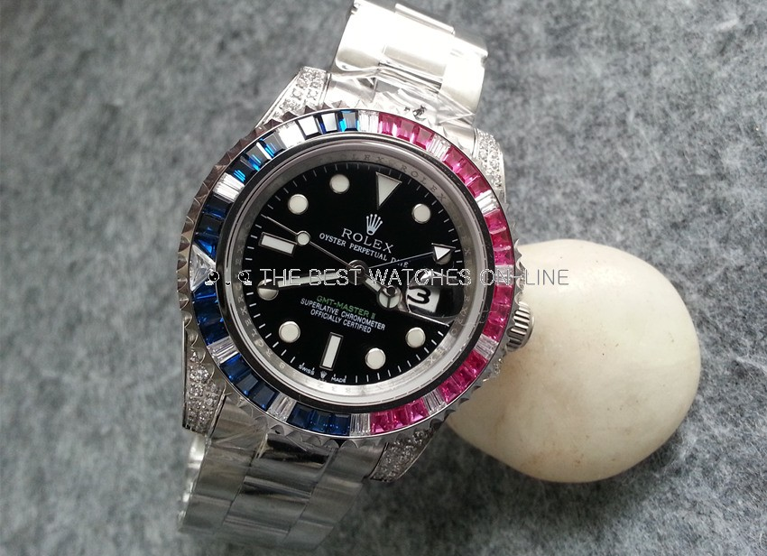 Rolex GMT-Master II Automatic Replica Watches Two-tone Diamonds Bezel
