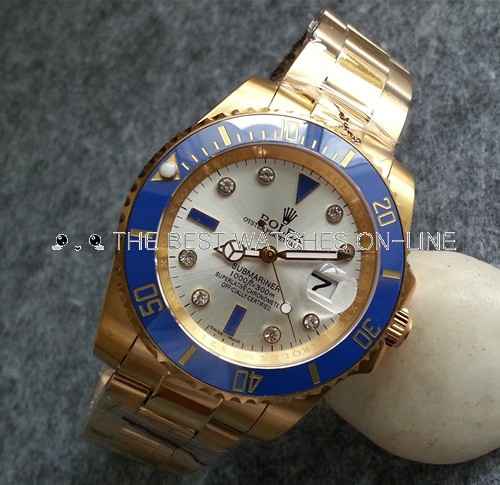 Rolex Submariner 18K Gold Case Pearl Dial Diamonds Mens SWRX856