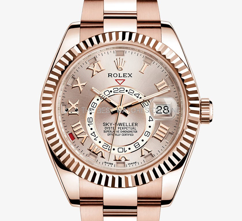 Swiss Rolex Sky-Dweller Rose Gold Casing Rose Gold Dial Automatic Replica Watch