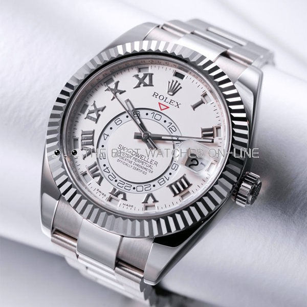 Swiss Rolex Sky-Dweller 326939 18K White gold Silver dial Men Automatic Replica Watch(High End)