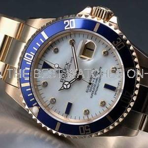 Rolex Submariner 18K Gold Case Pearl Dial Diamonds Mens SWRX856