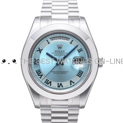 Rolex Day-Date II 218206 Platina Ice blue dial Roman numerals Men Automatic Replica Watch