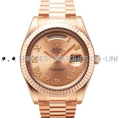 Replica Rolex Day-Date II Automatic Watch 218235 Rose Gold Dial 40mm