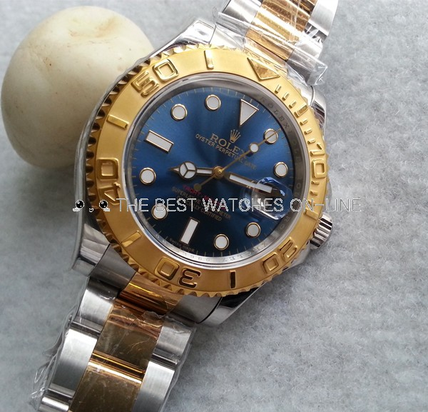 Swiss Rolex Yacht-Master Replica Two-Tone Watch Blue Dial 40mm (High End)