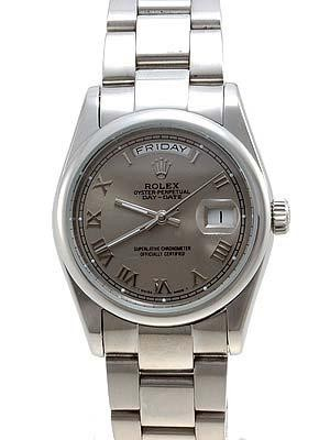 Rolex Oyster Day Date Replica Watches White Gold Gray dial RLLP08