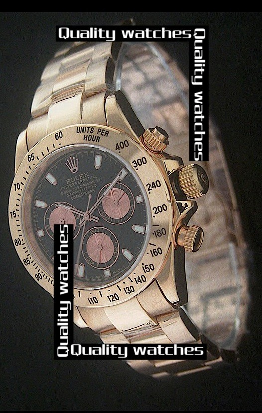 Swiss Rolex Cosmograph Daytona 18K Yellow Gold Light-red Sub-dials Automatic Replica Watch