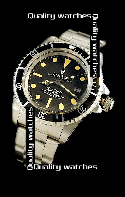 Rolex Sea-Dweller Black dial Yellow time markers Automatic Replica Watch