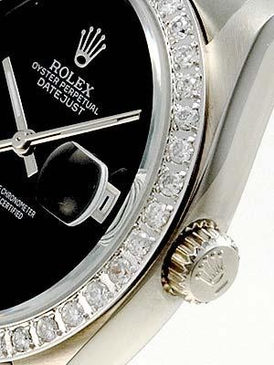 Rolex Datejust Replica Watches SS Black dial no markers II