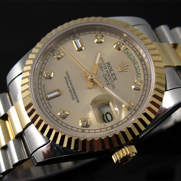 Replica Rolex Day-Date Automatic Two-Tone Watch Gold Dial 40mm