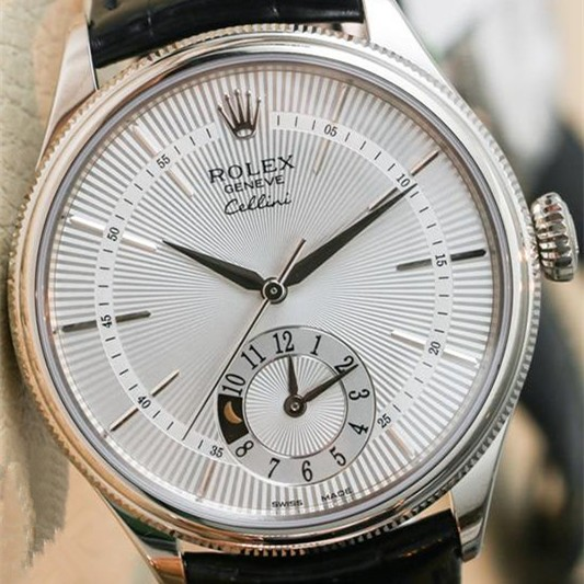 Swiss Rolex Cellini Dual Time Silver dial Men Automatic Replica Watch