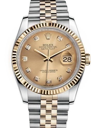Replica Rolex Datejust Swiss Watches 116233-0150 Gold Dial 36mm(High End)