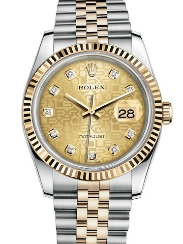 Replica Rolex Datejust Swiss Watches 116233-0155 Gold Pattern Dial 36mm(High End)