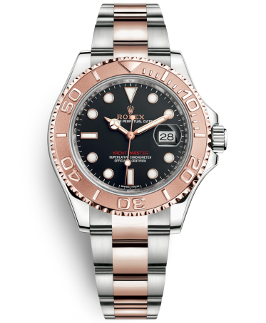 Replica Rolex Yacht-Master Automatic Two-Tone Watch Black Dial 40mm