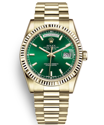 Rolex Day-Date Swiss Automatic Gold Watch 118238-0419 Green Dial 36mm (High End)