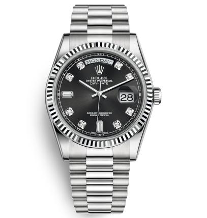 Replica Rolex Day-Date Automatic Watch 118239-0089 Black Dial 36mm