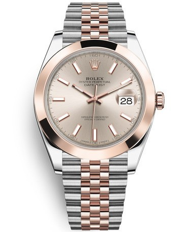 Replica Rolex Datejust II Swiss Watches 126301-0010 Rose Gold Dial 41mm(High End)