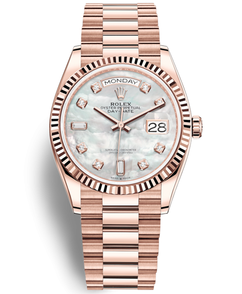 Replica Rolex Day-Date Rose Gold Swiss Watches 128235-0029 MOP Dial 36mm(High End)