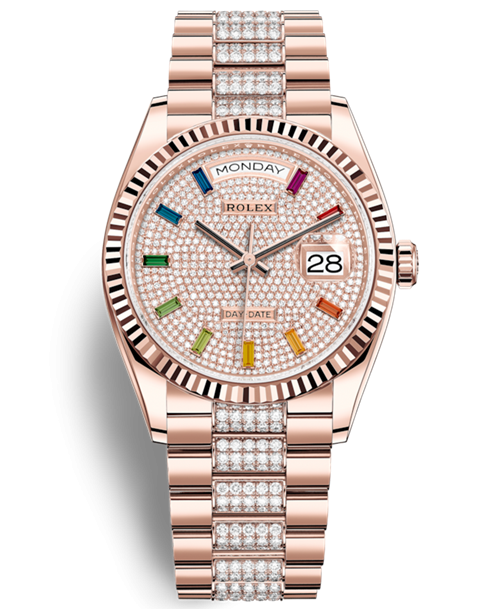 Replica Rolex Day-Date Rose Gold Swiss Watches 128235-0040 Diamonds-paved Dial 36mm(High End)