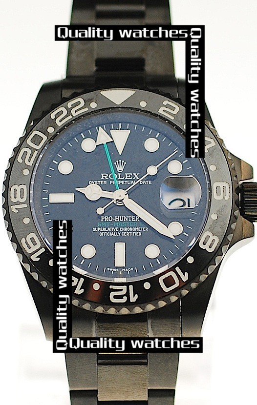 Swiss Rolex Pro-Hunter GMT-Master II Dark blue dial Ceramic bezel PVD  Automatic Replica Watch