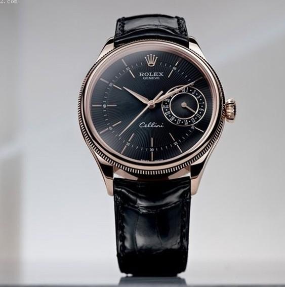 Swiss Rolex Cellini Date Rose Gold Black dial Men Automatic Replica Watch