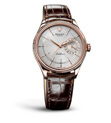 Swiss Rolex Cellini Date Automatic Watch Rose Gold Silver White Dial Brown Leather Strap