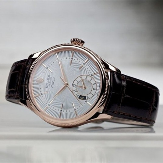 Swiss Rolex Cellini Dual Time 50525 Rose Gold Silver dial Men Automatic Replica
