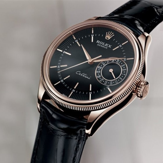 Swiss Rolex Cellini Date 50515 18K Rose Gold Black dial Men Automatic Replica Watch