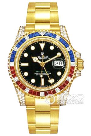 Swiss Rolex GMT-Master II 116758 SAru-78208 18K Yellow Gold Diamonds Bezel with Ruby and Sapphire Men Automatic Replica Watch
