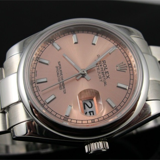 Swiss Rolex Datejust Pink dial Bar-type time markers  Automatic Replica Watch