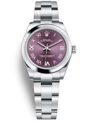 Replica Rolex Oyster Perpetual Swiss Watches 177200-0017 Red Grape Dial 31mm(High End)