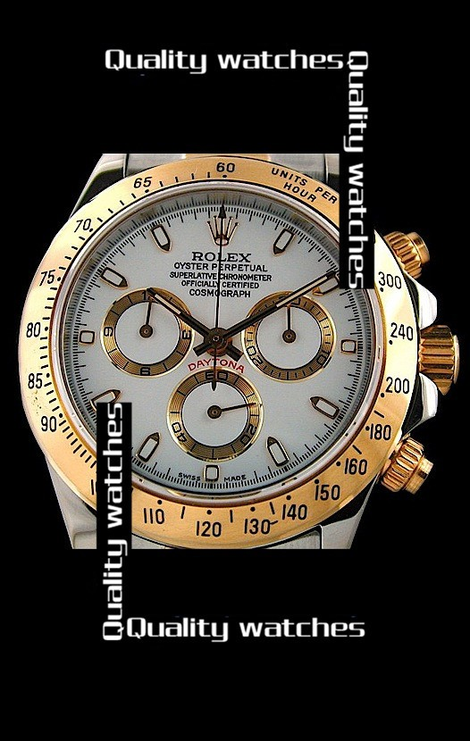 Swiss Rolex Cosmograph Daytona 14K Gold White Dial Stick time markers Automatic Replica Watch
