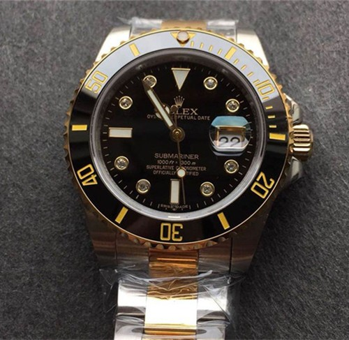 Rolex Submariner Swiss Cal.3135 Automatic Watch Diamonds Markers Black Dial (Super Model)