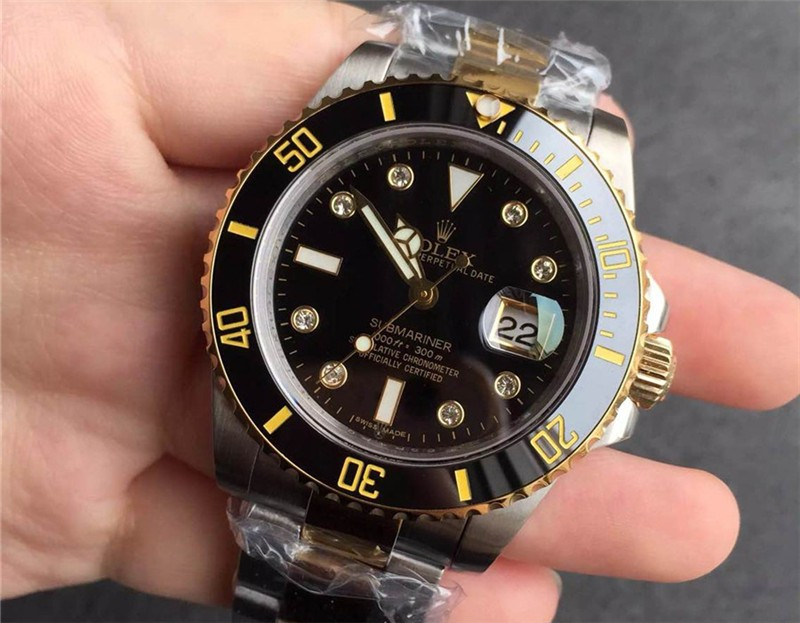 Rolex Submariner Swiss Cal.3135 Automatic Watch Diamonds Markers Black Dial