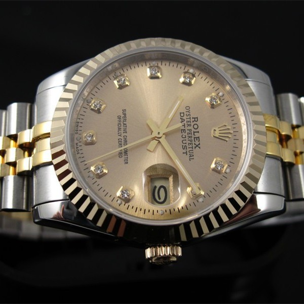 Swiss Rolex Datejust 18K Rose Gold Diamond time markers Golden dial Automatic Replica Watch