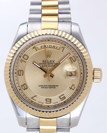 Rolex Day-Date II Replica Watches Gold Dial RX41129