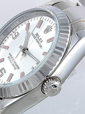 Rolex Oyster Perpetual Replica Watches SS Silver Dial with Arabic and Orange Bar Hour Markers