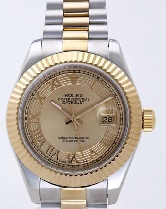 Rolex Datejust II Replica Watches Gold Dial RX4105