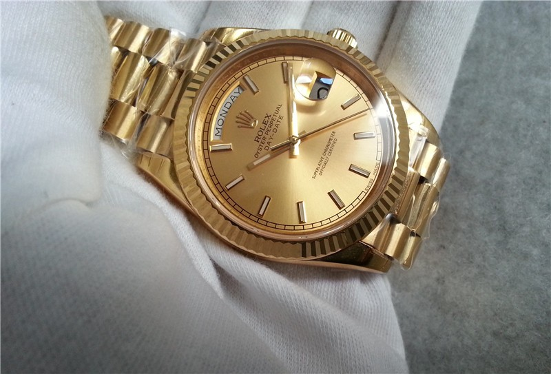 Rolex Day-Date II Swiss Replica Watch 228238-0003 Gold Dial 40mm (High End)