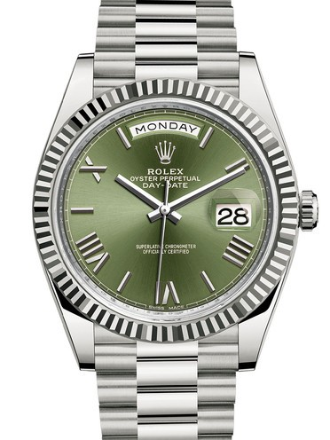 Rolex Day-Date II Swiss Replica Watch 228239-0033 Olive Green Dial 40mm (High End)