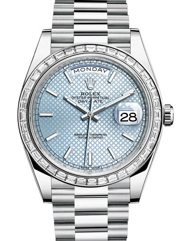 Rolex Day-Date II Swiss Replica Watch 228396tbr-0001 Ice Blue Dial 40mm (High End)