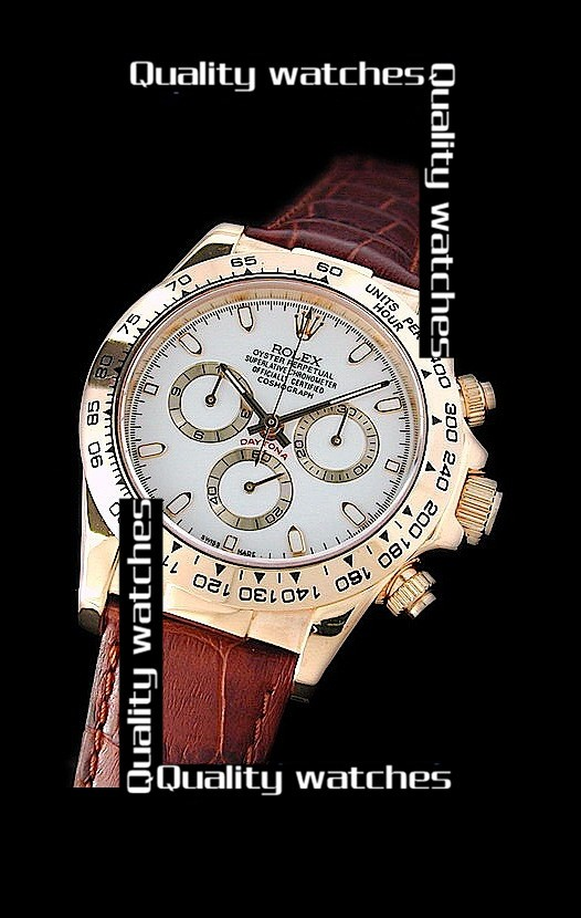 Swiss Rolex Cosmograph Daytona 18K Yellow Gold Brown Leather Strap  Automatic Replica Watch