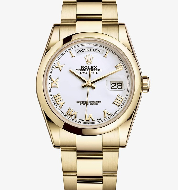Swiss Rolex Day-Date 118208 18K Yellow Gold White dial Roman numerals Men Automatic Replica Watch