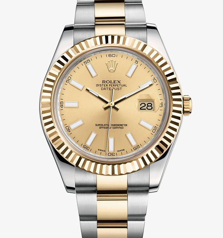 Swiss Rolex Datejust II Mens 116333 Champagne dial Bar-type time markers Automatic Replica Watch